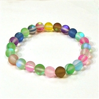 QCRB524-09-8mm 7 COLOR MERMAID GLASS BRACELET IN MATTE FINISH
