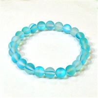 QCRB524-11-8mm TURQUOISE MERMAID GLASS BRACELET IN MATTE FINISH