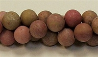 QRB111-10mm REDWOOD JASPER MATTE FINISH BEADS