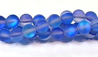 QRB524-02-8mm BLUE MERMAID GLASS BEADS IN MATTE FINISH