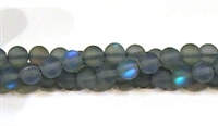 QRB524-05-6mm GRAY BLUE MERMAID GLASS BEADS IN MATTE FINISH