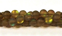 QRB524-06-8mm COFFEE MERMAID GLASS BEADS IN MATTE FINISH