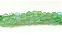 QRB524-07-6mm GREEN MERMAID GLASS BEADS IN MATTE FINISH