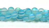 QRB524-11-8mm TURQUOISE  MERMAID GLASS BEADS IN MATTE FINISH