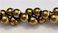RB153-08mm HEMATITE  METALLIC GOLD BEADS
