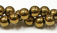 RB153-10mm HEMATITE  METALLIC GOLD BEADS