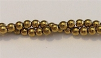 RB153-04mm HEMATITE METALLIC GOLD BEADS