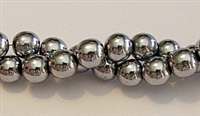 RB154-08mm HEMATITE  METALLIC SILVER BEADS