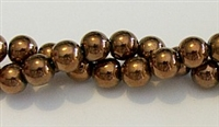 RB155-08mm HEMATITE METALLIC BRONZE BEADS