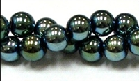 RB159-10-HEMATITE MATALLIC GREEN BEADS
