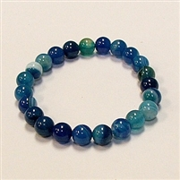 CRB182-STONE BRACELET IN BLUE STRIPED AGATE