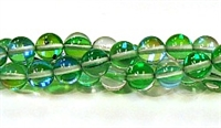 RB524-07-8mm GREEN MERMAID GLASS BEADS