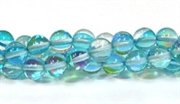 RB524-11-8mm TURQUOISE  MERMAID GLASS BEADS