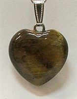 Y6-04 25mm TIGER EYE HEART PENDANT
