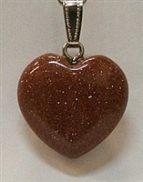 Y6-05 25mm GOLDSTONE HEART PENDANT