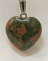 Y6-06 25mm UNAKITE HEART PENDANT