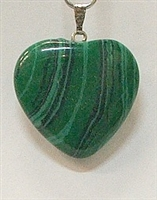 Y6-12 25mm MALACHITE HEART PENDANT