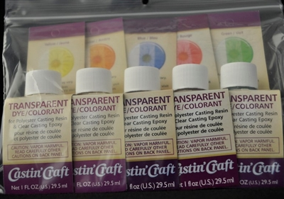Transparent Dye Kit, 5 Colors, 1oz. each