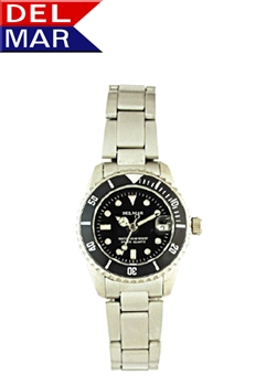 Women's Stainless Steel Classic Dive Wrist Watch, 200 Meter Water Resistant with Stainless Steel Case | Del Mar Watches.