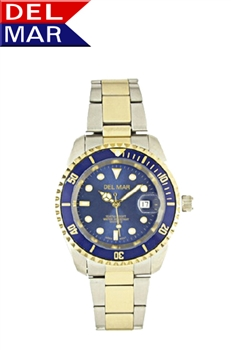 Men's 200 Meter Blue Dial Two Tone Classic Sports Dive Wrist Watch | DelMar Watches