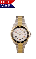 Men's Two Tone Classic Nautical Flags, 200 Meter Water Resistant with Stainless Steel Case with one way unidirectional timing bezel - Del Mar Watches