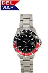 Classic 200M Water Resistant Men's All Stainless Steel Black & Red Bezel from dive watch leader Del Mar Watch.