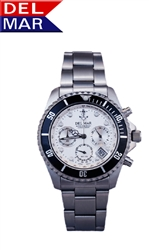 Men's Miyota Chronograph Movement Anchor White Dial Watch | Del Mar Watches