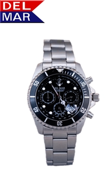 Men's Miyota Chronograph Movement Black Dial Watch | DelMar Watches