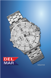 Men's Chronograph 45mm x 40mm - 100Mm Silver Faced Watch | Del Mar Watches