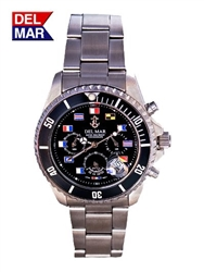 Men's Black Nautical Flag Dial Miyota Chronograph Movement Watch|Del Mar Watches