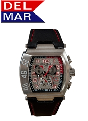 Men's 100 Meter Stainless Steel Rugged Sport Chronograph Silver & Red Dial | Del Mar Watches