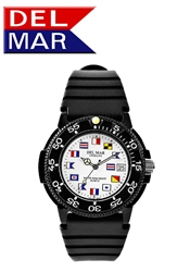 Del Mar Men's Dive White Dial Nautical Flag PU Watch, 200 Meter Water Resistant