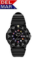 Del Mar Men's Dive Black Dial Nautical Flag PU Watch, 200 Meter Water Resistant