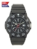 Del Mar Men's Dive 200 Black Dial PU Watch, 200 Meter Water Resistant