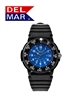 Del Mar Men's Dive 200 Blue Dial PU Watch, 200 Meter Water Resistant