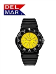 Del Mar Men's Dive 200 Yellow Dial PU Watch, 200 Meter Water Resistant