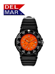 Del Mar Men's Dive 200 Orange Dial PU Watch, 200 Meter Water Resistant