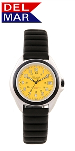 Unisex Lite Aluminum Watch Case - Yellow Dial | 200 Meters Water Resistant | Calendar, Black Bezel, 24 hr. Dial | Del Mar Watches