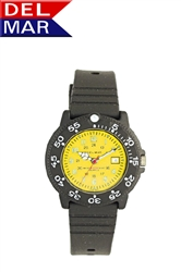 Del Mar Women's Dive Yellow Dial PU Watch, 200 Meter Water Resistant
