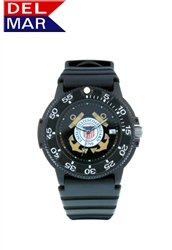 Del Mar Men's Coast Guard Military Sport Dive Watch-Black Case Sport Dive Watch
