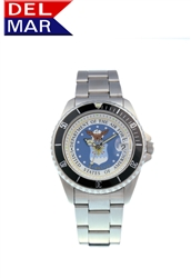 Del Mar Men's Air Force Military Sport Dive Watch-Stainless Steel Sport Dive Watch