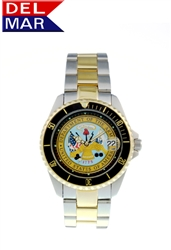Del Mar Men's Army Military Sport Dive Watch-Two Tone Stainless Steel Sport Dive Watch