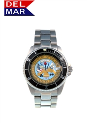Del Mar Men's Army Military Sport Dive Watch-Stainless Steel Sport Dive Watch