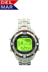 Digital Tide Watch All Stainless Steel, Water Resistant to 330 Meters, Tide Calculator | Del Mar Watches