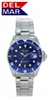 Men's 200 Meter Sport Watch Classic Blue Dial Stainless Steel | Del Mar Watches