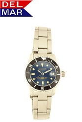 Women's 200 Meter Sport Watch Classic Blue Dial Stainless Steel | Del Mar Watches