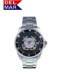 Del Mar Men's Coast Guard Military Sport Dive Watch-Stainless Steel Sport Dive Watch