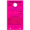 TEMPORARY PARKING PERMIT W/Custom Imprint of Name/Address - Mirror Hang Tag numbered and with Tear-off Stub.  Fluorescent Pink, 50/Pack
