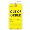 "OUT OF ORDER, Numbered 2 Places, 5.75"" x 2.875"", Yellow Paper,1 Stub, Looped String, Pack of 100"