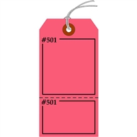 "Claim Check/Tag, Numbered 2 Places, 5.75"" x 2.875"", Fluorescent Pink Paper,2 Part, Looped String, Pack of 100"